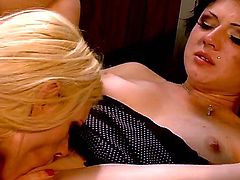 Two hot and horny girlfriends Ava Rose and Darryl Hannah having sweet time together