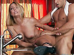 Brenda James with juicy jugs knows no limits when it comes to fucking with hard cocked guy Ramon