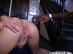 Bootylicious blond head chick Kelly Wells got hardcore doggy way drilled by BBC