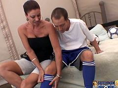 The husband comes from a soccer game and tired, his wife, sexy dark haired bitch gives him a good relax in blowjob format and gets fucked. Watch in My XXX Pass sex clip.