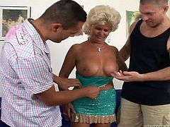 Wanna see an old whore, getting fucked hard by a young man? The slutty granny in this video likes sucking big cocks. She is very playful and talented at sucking dick, and balls from any position! Don't miss the deep throat part! Click, to see the cheeky granny getting laid!