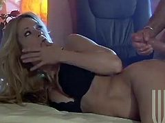 Amazing Jessica Drake gives a pleasurable blowjob to her sleeping boyfriend. He wakes up and starts to fuck Jessica as hard as he can.