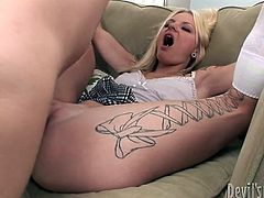 Horny bitch in white and sexy stockings and nice tattoo on her leg lays on the sofa with opened clit and gets fucked. Watch in steamy Fame Digital xxx clip.