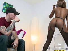 Cody is a white guy and luckily for him, Rashae is crazy for white boys! She performs a slutty show for him and taunts the guy with her round, black ass on that chair. After making his dick hard, Rashae opens her mouth and sucks his meat. She gives a hot head but let's see how she handles his dick with her ass