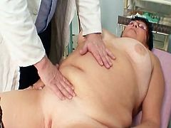 Big-Titted elder donna gyn clinic exam