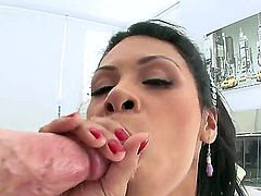Arousing whorish sexy Cassandra Cruz with great hunger for cock and smoking hot body gets on knees and sucks her lover in pint of view until he cums on her face.