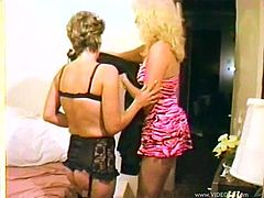 Have a blast watching these blonde cougars, with natural boobs wearing sexy lingerie, while they lick each other's pussies fervently.