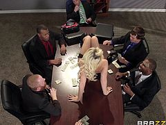 Imagine, how envious must be all the colleagues, when a girl pays a visit to your workplace! A hot looking blonde lady interrupts a business meeting, blowing the audience with her sex appeal. Kinky outfit, high heel boots and big boobs, make an unforgettable appearance. See, how things evolve between her and the boss