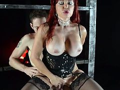 Checkout this redhead milf with huge tits and sexy ass.Her name is Sexy Vanessa, here sin this video, she rides a big cock of stud Wolf and dominates him nicely.Enjoy!
