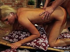This hot blonde mom loves to get fucked like crazy. She puts her ass up in the air and her man rubs his hands on her crack, and over her pussy. Watch as he rams her and kisses her perfectly round ass.