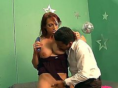 Voluptuous redhead milf with round boobs and sexy face frolics with handsome boyfriend
