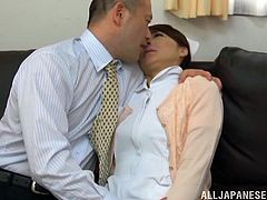 Take a look at this hardcore scene where the horny nurse Hisae Yabe is fucked by a doctor after having her bush eaten out.