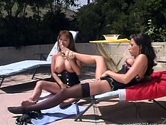 What are you waiting for? Watch these lesbian cougars, with giant jugs wearing sexy lingerie, while they lick each other ardently.