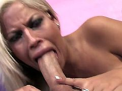 Bridgette B. sucks this dick till her mouth gets filled with fresh and hot cum