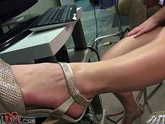 Having provided her thirsting stud with awesome foot fuck this fair haired hot babe got her mouth pounded hard. Look at this passionate sex in My XXX Pass porn video!
