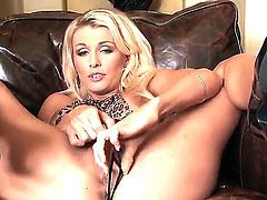 Glamorous blonde lady Alicia Secrets rubs her beautiful pussy dreaming about your participation