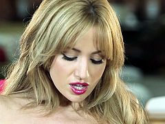 Angela Sommers is a proud proprietress of juicy butt and big silicon tits. Hottie strips down, strokes her gorgeous curvy body and pets her pinkish pussy with her snappy fingers.