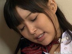 Tsukasa Aoi is a nice Japanese babe in a school uniform. She plays with her pussy through panties and then gets fucked from behind.
