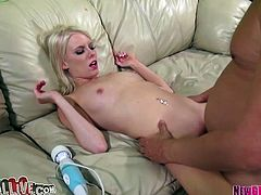 Sexy and hot bitch Elaina Raye gets drilled hard on the sofa