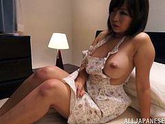 Riku Minato blows and gets her Japanese pussy fucked and creampied