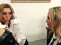 Two seductive blonde pornstars Charlee Monroe and Tanya Tate share the Giovanni Francescos cock