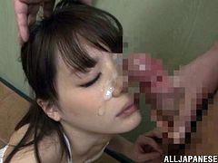 Watch the slutty Airi Suzumura end up with her pretty face covered by cum after sucking on this guy's hard cock.