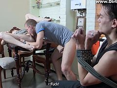 Sexy lady with long brown-hair and perfect legs, wants revenge for being cheated on. She gives her lover a lesson, inviting in another man, with whom she makes out on the kitchen table. Dick sucking is shortly followed by pussy licking, making it unbearable for the tied guy. Don´t pity him! Stay tuned, to see more!