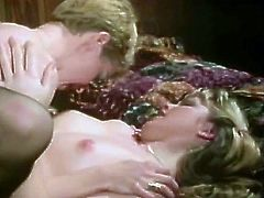 Two sweet looking gals in stockings please each other slits and then suck one cock and get facial while kissing each other. This exciting threesome sex video is worthy of being seen.