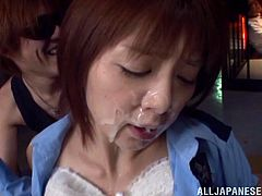 Slutty Japanese chick Chika Kitano is playing dirty games with some man in prison. The dude unbuttons Chika's blouse, massages her big natural tits and uses her face as a cum target.