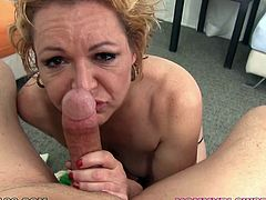 Old dumpy blond whore Kelly Leigh gives her young dawg nice BJ