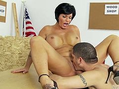 This mature woman radiates confidence in her own power of seduction. She spreads her long sexy legs wide indicating how bad she wants this dude to lick her mature pussy. Horny dude is powerless to resist her. He licks her wet fanny passionately like a true pussy eater. Then he fucks her juicy pussy in missionary position.