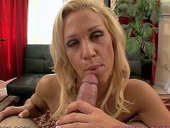 Hussy jade with big boobs is incredibly good in blowjob. She shows off her talent in provocative porn clip while the guy is filming her from POV. She also gives him hot titjob.