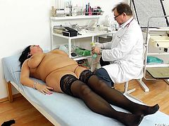 Old whore Robislava is at her doc for a medical examination. The guy takes her pressure and then, puts her to lay on her back. It seems, that Robislava is a bit stressed, so he gapes her pussy and examines it. If that won't make her pressure lower down, a hard cock will surely make it raise again and cum fill her too.