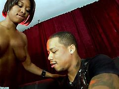 Brunette Imani Rose shows off her body parts while getting shagged hard and deep by hot guy