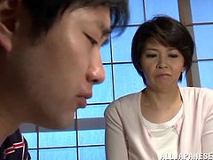 Mature Japanese skank Beni Itou is playing dirty games with a man indoors. They have hot oral sex and then fuck in cowgirl, missionary and other positions.