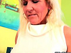 Older Woman Fun brings you a hell of a free porn video where you can see how this busty blonde mature vibrates her hairy cunt into heaven while assuming very hot poses.