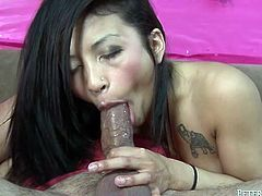 Sex appeal petite chick with nice tattoo on her shoulder gives deepthroat blowjob standing on her knees. This cock guzzler chick is worth your time.