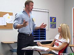 Professor stays in college office alone with sexy student.