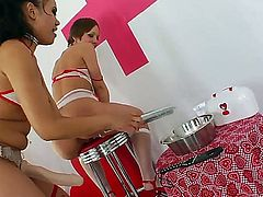 Two sexy lesbians have fan together. They lick their sweet pussies and then have great strap on sex. They fuck each other in their ass holes and get unforgettable orgasms!