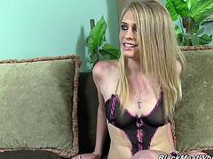 Petite Allie James poses for the Black dude in sexy lingerie. She definitely makes him horny. So, the guy starts to lick Allie's feet.
