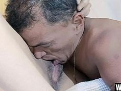 Fabiana is a beautiful Asian girl that tried out a lot of cocks but this time, it's special! She's with Zezinho now, a horny midget that wants to fuck her pussy so hard that she will remember him. She starts out by sucking Zezinho's cock and then he licks her bald Asian pussy. So far so goo, watch the rest of it!