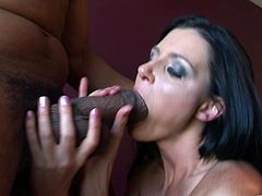 Make sure you check out this hardcore interracial scene where the sexy brunette India Summer has her tight pussy penetrated by black monster cock.