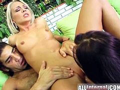 Gorgeous bitches Tiffany and Veronica are having fun with some lucky man. The girls drive the dude crazy with a mind-blowing blowjob and then get their snatches pounded from behind.
