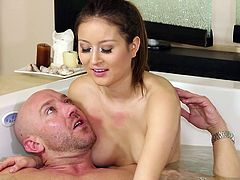 Meet Bliss, masseuse that knows how to combine her skills, in order to make a man burst into pleasure. Bliss is not an ordinary whore and this dude is about to find that out. She goes in the bathtub with him and begins slowly jerk his dick. Then she gives him one hell of a head and makes the guy wanna cum!