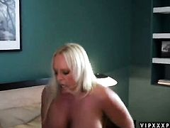 Blonde Alexis Golden with juicy melons is too hot to stop masturbating