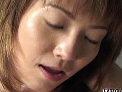 JAVHQ brings you a hell of a free porn video where you can see how the alluring Asian brunette Miri Sugihara gives a great blowjob to her man before getting creamed.
