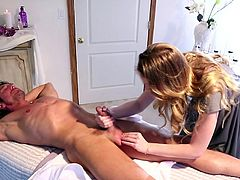 Touching his firm cock gets her horny and eager to have a good fuck