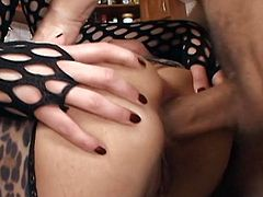 Go for the hottest threesome sex video featuring two greedy for cum brunettes wearing fucking hot latex and leopard print lingerie.