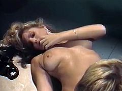 Naughty lesbian plays with ninnies while girlfriend polishes her smooth pussy. It's a time for popular sex tube video from The classic Porn archive.