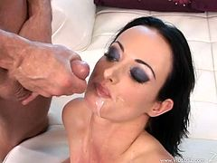 Awesome brunette babe Melissa Lauren is playing dirty games with some horny man. She favours the dude with a blowjob and then lets him pound her pussy and asshole.